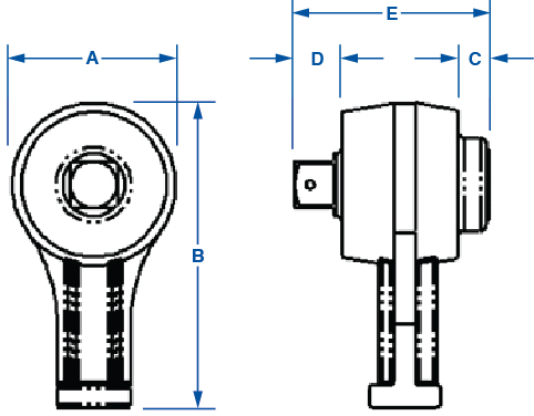 Torque Multiplier Drawing with Dimensions